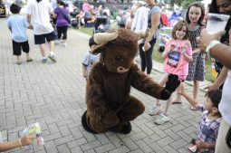 A buffalo high fives children before the beginning of Brookfield Zoo's Summer Nights concert on Friday, June 30. | William Camargo/Staff Photographer