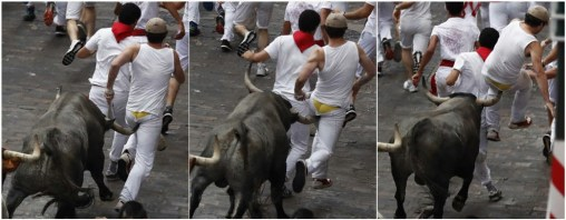 During the second day of the San Fermin festival in Pamplona, Spain, on July 8, a bull gored Brookfield native Bill Hillmann in the buttocks and sent him flying. It was the second time Hillmann's been gored while running with the bulls at the festival. (Photos by Diego Repiso courtesy of Bill Hillmann's Facebook page)