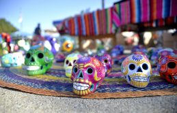 Super colorful, handmade sugar skulls were among items for sale during the Latin Music Fest, organized by the Hispanic Organization of North Riverside (HONR) on Sept. 9 at the Village Commons. The decorative skulls are used in Mexico to celebrate the Day of the Dead and All Soul's Day. | Alexa Rogals/Staff Photographer