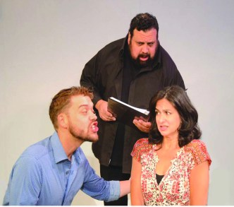 From left to right, Tommy Aldis, Joe Savino and Linda Cunningham in Stage Kiss. Stage Kiss, by Sarah Ruhl and directed by Angelee Johns, is onstage from Sept. 28 through Oct. 8 at the Theatre of Western Springs, 4384 Hampton Ave. | Courtesy of Theatre of Western Springs