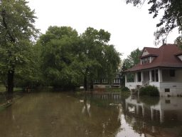 The Des Plaines River overflowe dits banks and flooded much of unincorporated Riverside Lawn, including much of the 3800 block of Gladstone Avenue, shown above, on Oct. 15. | Bob Uphues/Editor