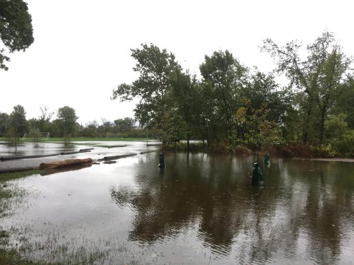 Substantial parts of Indian Gardens in Riverside were flooded, as well as the area around the Scout Cabin. A Riverside Juniors event planned for Oct. 14 was cancelled due to the heavy rains. | Bob Uphues/Editor