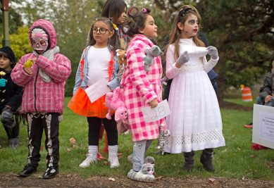 Children line up at Grossdale Station in downtown Brookfield on Oct. 28, during the costume contest that capped off the Brookfield Historical Society and Chamber of Commerce's annual Monsters on Mainstreet event. | Alexa Rogals/Staff Photographer