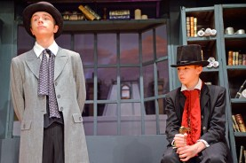 """Steven Sanduski (Scrooge's nephew) and Jake Shevitz (Scrooge) are among the students at Hauser Junior High School in Riverside featured in the cast of Charles Dickens' classic """"A Christmas Carol"""" on Nov. 13 and 14 in the school's auditorium. 