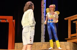 """Casey Whisler (left), as Helena, and Kenna Howorth run through a dress rehearsal of Shakespeare's """"A Midsummer Night's Dream"""" on Nov. 4 in the auditorium at Riverside Brookfield High School.   Alexa Rogals/Staff Photographer"""