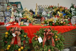 Handmade Christmas and holiday decorations are set out at a booth for sale on Nov. 4, during the annual Holiday Bazaar at the Village Commons on Des Plaines Avenue in North Riverside. | Alexa Rogals/Staff Photographer