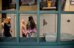 """Crew members get the set put together on Nov. 2, during play rehearsals for """"A Christmas Carol"""" at L.J. Hauser Junior High School in Riverside. 