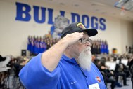 Doug Whiting, a U.S. Army veteran, has attended the Riverside-Brookfield High School Veterans Day assembly 11 times. The 68-year-old LaGrange resident, whose son graduated from RBHS in 2007, served in Vietnam in 1969-70. | Alexa Rogals/Staff Photographer