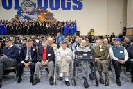 Veteran's take a seat in the middle of the gym on Nov. 10, during the annual Veteran's Day assembly inside the gymnasium at Riverside Brookfield High School. | Alexa Rogals/Staff Photographer