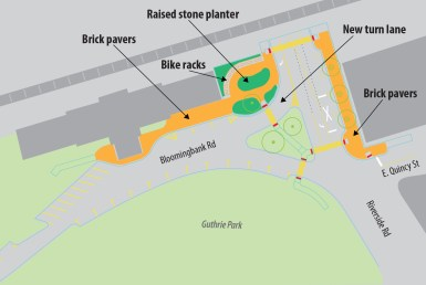 In order to make the area safer for pedestrians and motorists, the village of Riverside is realigning the right-turn lane from Riverside Road to Bloomingbank Road, shortening and relocating crosswalks and creating a raised, brick-paved plaza for pedestrians outside the train station.   Illustration by Javier Govea