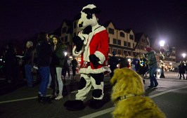 The cow mascot for Chick-fil-A waves to Finn, the golden retriever, on Dec. 1, during the annual Riverside Chamber of Commerce Holiday Stroll throughout downtown Riverside. | ALEXA ROGALS/Staff Photographer