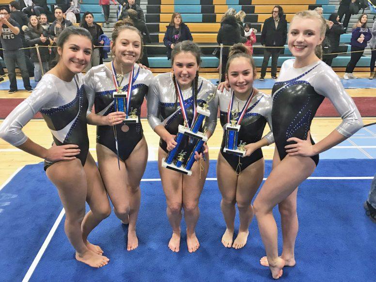 RBHS gymnasts (left to right) Nina Tomas, Katie Polanski, Amber O'Brien, Mia Giurini & Savannah Bishop (Courtesy of Karyn Domzalski)