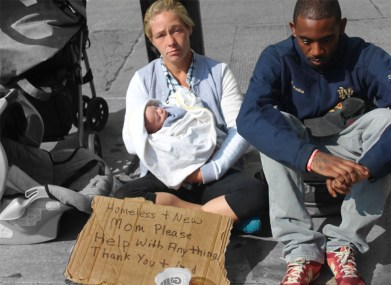 """Autumn Moulder, """"Homeless People with Baby"""""""