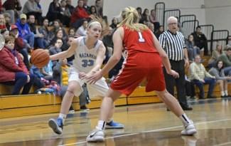 Nazareth junior Annie Stritzel averaged 25 points, 6 rebounds, 3 assists and 4 steals this season. (Alexa Rogals/Staff Photographer)
