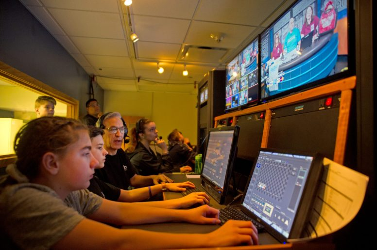 Students and staff members work in the TV control room on March 10, during the annual RBTV Telethon at Riverside Brookfield High School. | Alexa Rogals/Staff Photographer