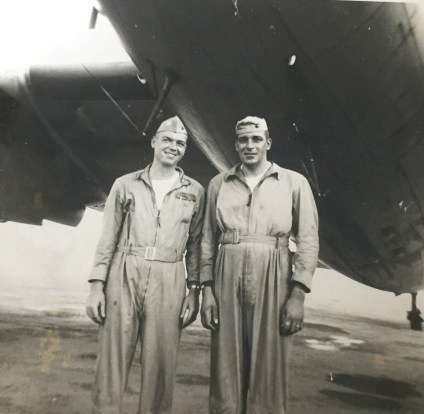 Edward Meksto (left) as a Marine Corps pilot and instructor at Cherry Point, North Carolina, during the Korean War.