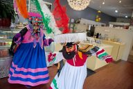 Chinelos dancers bring a side helping of Carnival each weekend to downtown Riverside, performing at La Estancia, a Mexican eatery. | Alexa Rogals/Staff Photographer