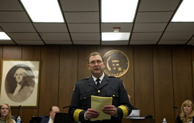 Mark Duffek, who was sworn into his new role on Monday night, will take over as Brookfield's new fire chief on April 28, the day after Patrick Lenzi officially retires. Duffek started as a paid-on-call firefighter in 1981. | Alexa Rogals/Staff Photographer