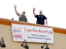 Brookfield police officers once again will be up on the roof of Dunkin Donuts, 9208 Ogden Ave., from 5 a.m. to noon on Friday, May 18 as part of the 2018 Cop on the Rooftop fundraising campaign for the Illinois Law Enforcement Torch Run, which supports Illinois Special Olympics.