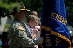 Village President Kit Ketchmark (above) gave the keynote address on May 28, during a Memorial Day Veterans ceremony at Veterans Park in Brookfield. | Alexa Rogals/Staff Photographer