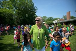 Judy Sayre walks outside Blythe Park School with her students on June 7, her final day of teaching after 38 years in Riverside District 96, 35 of them at Blythe Park.   Alexa Rogals/Staff Photographer