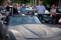 Participants drive their vehicles down the road to park on June 7, during the first monthly Cruise Night of the summer in downtown Riverside. | Alexa Rogals/Staff Photographer