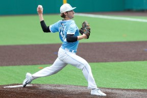 Nazareth left-hander Michael Prosecky throws a pitch at the Class 3A state tournament. Prosecky has committed to Louisville. (Courtesy of Nazareth Academy)