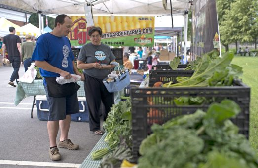 Shoppers look around at the produce available in the Twin Garden Farms tent on Saturday, June 23, during the weekly farmers market in the Brookfield Village Hall parking lot. | Alexa Rogals/Staff Photographer