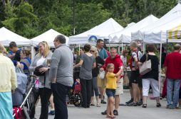 Shoppers mingle and check out different booths and stands on June 23, during the weekly farmers market in the Brookfield Village Hall parking lot. | Alexa Rogals/Staff Photographer