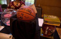 Signed memorabilia was one of several raffle winnings. | Alexa Rogals/Staff Photographer