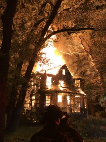 3744 Stanley Ave. engulfed in flames early on June 28. (Photo provided)