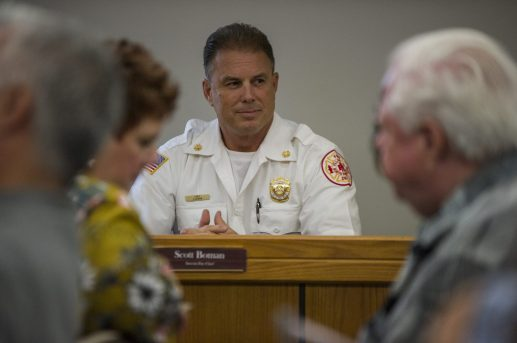 Interim fire chief Scott Boman sits and waits for the meeting to begin on Aug. 13, during a North Riverside Village board meeting at the Village Commons on Des Plaines Avenue. | Alexa Rogals/Staff Photographer