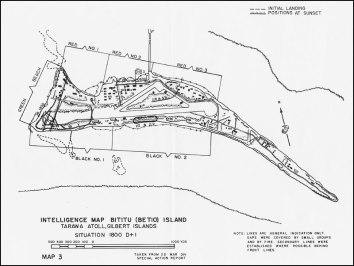 The U.S. Marines intelligence map of Betio Island shows the various landing beaches and Japanese strongpoints. The initial assault came on Red Beach, on the island's north side. Troops were subsequently reinforced by landings on Green Beach. Note the airfield that dominates the center of the island and which made it an important an important target for military planners.