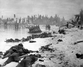 Dead Marines lay on Red Beach on the northern shore of Betio Island after the assault on the heavily defended beach. More than 1,000 Marines were killed during the three-day battle, most of them on the first day, including Harry Carlsen.