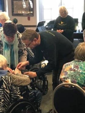 Riverside Presbyterian Church members visited with Caledonia Senior Living residents and assisted with meals from the buffet luncheon provided and prepared by the congregation. | PROVIDED