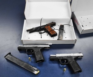 Police recovered three handguns, including one reported stolen out of Indiana in 2016, at the crash scene. (Photo courtesy of the Riverside Police Department)