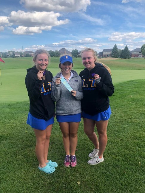 LTHS golfers Elizabeth Sommerfield (20th place), Chloe Blauw (13th) and Nora Kirby (7th) all placed among the top 20 at the West Suburban Conference Tournament. (Courtesy @LTHS Athletics/Twitter)