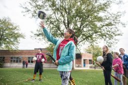 Samira Giron throws a ball through the ring on Sept. 29, during Quidditch outside of the North Riverside Village Commons on Des Plaines Avenue. | Alexa Rogals/Staff Photographer