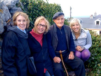 "During Season 1 of ""Islands Without Cars,"" the team of Executive Producer Melissa Sage Fadim (far left), Terry Spencer Hesser and the show's host, Kira Cook (far right), met with residents on Inis Meain, one of the Aran Islands off the west coast of Ireland. 