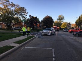 Three total vehicles were involved in the crash at Maple and Garfield, and two people reportedly were taken to the hospital for treatment of minor injuries. (Photo courtesy of the Brookfield Police Department)