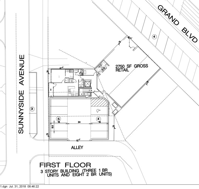 RMG Realty is pitching a three-story mixed-use building for a V-shaped parcel of land that straddles two zoning districts in downtown Brookfield. The development contemplates a ground-floor commercial space facing Grand Boulevard and 11 rental units, with covered ground-level parking facing Sunnyside Avenue. | Rendering provided