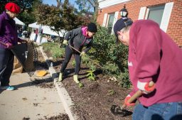 From left, Brookfield gardening club members Annette Rivera, Cathy Juarez and Tom Tulik clean up the area in front of Village Hall in Brookfield. | ALEXA ROGALS/Staff Photographer