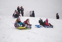 A group of kids sled down the hill together on Nov. 26, at the North Riverside Village Commons sledding hill on Des Plaines Avenue in North Riverside. | Alexa Rogals/Staff Photographer