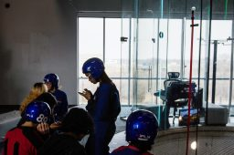 RBHS physics students wait for instructions to fly at an indoor skydiving facility in Naperville. | Sebastian Hidalgo/Contributor