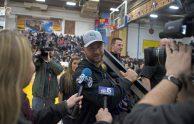Philadelphia Eagles kicker/Lyons Township High School alum and Super Bowl champ Jake Elliott, is honored at halftime of the Lions' boys basketball game against Glenbard West on Feb. 17 in LaGrange. | Alexa Rogals/Staff Photographer