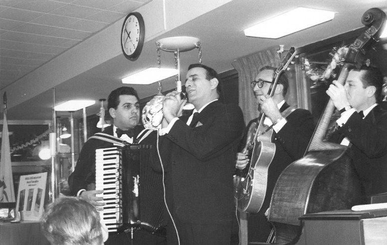 """Tony Bennett belts out a song to climax Marshall Savings and Loan's """"100 Million Dollar-versary"""" celebration on Jan. 15, 1963. A parade of stars was part of the Riverside institution's two-week long victory lap, which would all come crashing down within two months. 