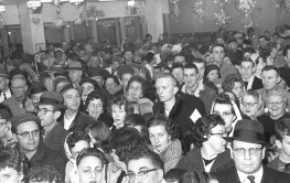 A packed audience in the lobby of Marshall Savings and Loan during Shecky Greene's appearance as part of the thrift's 100 Million Dollar-versary on Jan. 9, 1963. | Photo courtesy Liz Faron collection