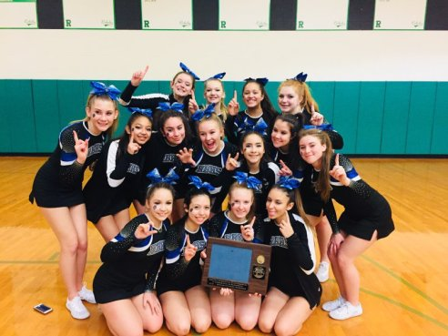 The Riverside-Brookfield High School cheerleaders won the Metro Suburban Conference competition over the weekend. (Courtesy of RBHS)
