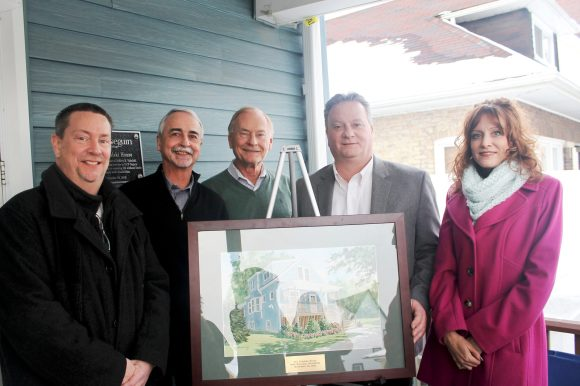 On hand to dedicate the Tobolski House in Brookfield were (from left) Joseph Mengoni, vice president of adult residential and clinical services at UCP Seguin; Jim Haptonstahl, executive vice president at UCP Seguin; John Voit, president/CEO at UCP Seguin; Cook County Commissioner Jeffrey Tobolski; and Michelle Sanders, vice president of organizational management. | Submitted
