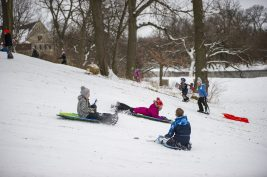 Children are seen sledding down the hill on Jan. 19, at Swan Pond in Riverside. | ALEXA ROGALS/Staff Photographer